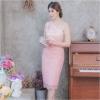 ชุดออกงาน/ชุดไปงานแต่งงานสีชมพูโอรส ไหล่เฉียง ทรงเข้ารูป แนวเรียบหรู สวยสง่า