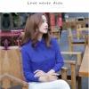 เสื้อเชิ้ตทำงานผู้หญิงสีน้ำเงิน ผ้าชีฟอง สีพื้น คอปก แขนยาว