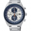 Seiko Men's SNDF87P1 Chronograph White and Blue Dial Stainless Steel Watch