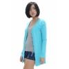 Fashionstory เสื้อคลุมไหมพรมคาดิแกนตัวยาว - สีฟ้า
