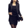 Fashion Women Mini Dresses Long Sleeve Slim Sexy OL Dresses For Women Trendy Fashion Style Online One-pieceBlack
