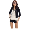 Women Coat Suit OL Long Sleeve Rivet Lady Short Jacket Black
