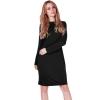 LALANG Fashion Women Bodycon Back Zipper Long Sleeve Pencil Dresses(Black)