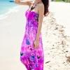 Maxi dress ชุดเดรสยาว พร้อมส่ง สีโทนม่วง สายคล้องคอ แต่งลวดลายดอกไม้ เนื้อผ้าทิ้งตัว มีความยืดหยุ่นได้ดี