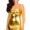 Cyber Women Long Sleeve Gold Foil Mini Tunic Party Bodycon SexyWomens Dresses Online Black
