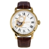 Seiko Automatic SSA232 White Dial Stainless Steel Gold Tone Brown Leather Band Mens Watch