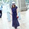 maxi dress ชุดเดรสยาวกระโปรงอัดพลีท ผ้าชีฟอง สีน้ำเงิน จั๊มเอว ใส่เที่ยว เท่ห์ๆ Asia Street Fashion