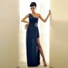 ชุดราตรียาว Maxi Dress ชุดเดรสยาว สีน้ำเงิน เปิดไหล่ ประดับคริสตัลที่ช่วงเอว ใส่ออกงาน สวยน่ารัก Asia Street Fashion