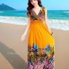 MAXI DRESS ชุดเดรสยาว พร้อมส่ง สีเหลืองอมส้ม คอวีลึก แขนกุด แต่งย่นๆช่วงหัวไหล่ ลายดอกไม้สีสัน สม๊อคช่วงเอว สวยมากๆค่ะ