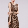 Sanwood Women's Short Sleeve Fold Evening Party Mini Dresses Beige