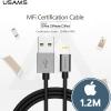 USAMS BRAIDED CABLE MFI - สายชาร์จไอโพนสำหรับ iPhone/iPad ผ่านมาตรฐาน MFI