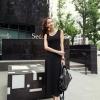 MAXI DRESS - เดรสยาว ผ้าคอตตอน ใส่เที่ยว โทนสีชมพู แขนกุด เปิดหลัง ASIA STREET FASHION