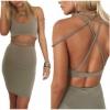Women Short Sleeve Lace Shoulder Mini Women is Fashion Dresses Casual Lady Top BlouseShirt (Grey)