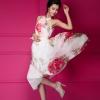 maxi dress เดรสยาวงานแต่ง ผ้าชีฟอง คอรูด สีขาว ชมพู ลายดอกไม้ ใส่ออกงาน สวย น่ารักๆ Asia Street Fashion
