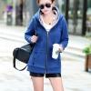 เสื้อกันหนาว พร้อมส่ง สีน้ำเงิน ซิบหน้า มีฮูดสุดเท่ห์ ฮูดบุด้วยขนสัตว์สังเคราะห์นิ่มๆ แฟชั่นมาใหม่สไตล์เกาหลี
