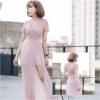 ชุดเดรสออกงาน/ไปงานแต่งงานสีชมพู เดรสกางเกงขาสั้นสีชมพู แต่งผ้าคลุมสุดเก๋