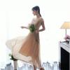 maxi dress-เดรสยาว ผ้าชีฟอง คอวี แต่งลูกไม้ สีกากี อัดพลีททั้งชุด ใส่ทำงาน เที่ยว ใส่ออกงานได้ สวยๆ Asia Street Fashion
