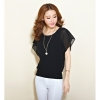 New Double-layer Fashion Was Thin Bat Sleeve Chiffon Blouse PlusSize XL XXXL XXXXXL Black