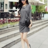 dress ชุดเดรสแฟชั่น ใส่ทำงาน ใส่เที่ยว ผ้า Cotton สีเทา แขนห้าส่วน Asia Street Fashion
