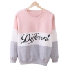 Fancyqube Hoody Women Clothing Casual Pullovers Long Sleeve PinkGrey