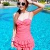 ชุดว่ายน้ำวันพีช สี Watermelon red สายเดี่ยวสามารถปรับสายได้ แต่งกระโปรงระบายเป็นชั้นๆ สวย