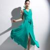 MAXI DRESS ชุดเดรสยาวแฟชั่นคอวี แขนกุด สีเขียว ใส่ออกงาน เซ็กซี่ สวยๆ ASIA STREET FASHION