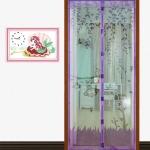 มุ้งประตูแม่เหล็ก สีม่วง ลายลิงน่ารัก ขนาด 120x220 ซม. แม่เหล็ก้อน และเส้นแม่เหล็กในตัว