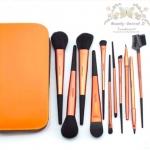แปรงแต่งหน้า ชุดเซ็ท แปรงแต่งหน้า คุณภาพดี ขนอ่อนนุ่ม FakeFace Orange wool portable professional makeup brush set full set แปรงแต่งหน้า/11ชิ้น - สีส้มเมทาลิค