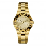 GUESS Women's W0404L1 Gold-Tone Watch Animal Print Bezel