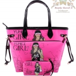 YM Handbags Korean Version Cartoon portable (Shipping 3 in 1/Set) กระเป๋าสำหรับผู้หญิง - Pink