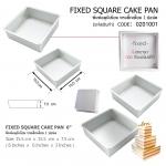 "FIXED SQUARE CAKE PAN 6"" :: พิมพ์สี่เหลี่ยม 1 ปอนด์ (ถอดก้นไม่ได้)"