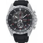 SEIKO Sport นาฬิกาข้อมือผู้ชาย Chronograph เรือนสแตนเลสหน้าปัดดำ รุ่น SSB325P1