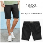 Next Black Regular Fit Denim Stretch Shorts