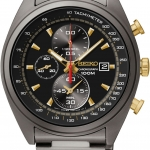 Seiko Men's SNDF91P1 Chronograph Black/Gold Dial Stainless Steel Watch