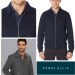 PERRY ELLIS TWILL KNIT ZIP JACKET