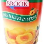 Brook พีชผ่าครึ่งในน้ำเชื่อม