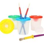 ถ้วยล้างพู่กัน เขียว Children Paint Brush and Non-Spill Paint Pot