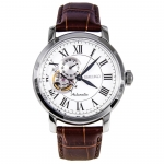 Seiko Automatic SSA231K1 White Dial Stainless Steel Silver Tone Brown Leather Band Mens Watch