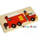 Uncle Wood - 2 layer Jigsaw Puzzle 'Fire Truck' ตัวต่อจิ๊กซอว์ไม้-รถดับเพลิง