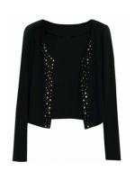 Toprank Korea Fashion Lady Long Sleeve Shrug Suits Blazer ShortOuterwear Women's Rivet Coat Jacket ( Black )