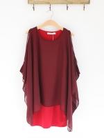 DRESS เดรสออกงาน สีแดง ผ้าชีฟอง คอตตอน งานแต่ง สวยๆ ใส่ทำงานได้ ASIA STREET FASHION