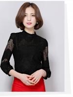 เสื้อทำงานผู้หญิงลูกไม้สีดำ แขนยาว แนวสวยหวาน เรียบร้อย ดูดี แฟชั่นสไตล์สาวออฟฟิศ