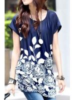 Ice Silk Loose Flower Print Mini Women - Dresses (Blue)