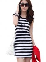 LALANG Short Sleeve Slim Dresses Black and White