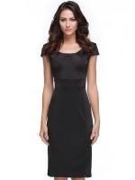 CatWalk Women's Cap Sleeve O-Neck Pencil Dresses Online (Black)