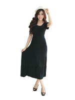 fashionstory Maxi Dresses ผ้ายืดเรย่อนเนื้อนิ่ม ทรงกระโปรงระบาย(สีดำ)