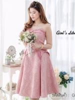 ชุดไปงานแต่งงาน ชุดออกงาน เดรสเกาะอกสีชมพู กระโปรงทรงบาน ผ้าลูกไม้เกรดพรีเมี่ยมสวยหรู
