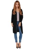 Hang-Qiao Women Long Cardigans Casual Sweaters Black