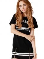 Cotton Striped Slim Mini Womens Dresses Online (Black/White)