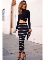 Cyber Striped Bodycon Womens Dresses Online Crop Top + Long Skirt Set (Black)